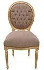 Chaise de style Louis XVI tissu velours taupe et bois doré
