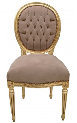 Louis XVI style chair taupe velvet and gold wood