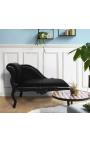 Louis XV chaise longue black velvet fabric and black wood