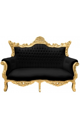 Canapé baroque rococo 2 places noir et bois doré