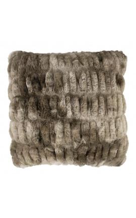 Gray faux fur cushion 45 x 45