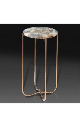 """Table d'appoint ronde """"Lucy"""" plateau en agate et onyx avec pied en métal doré"""