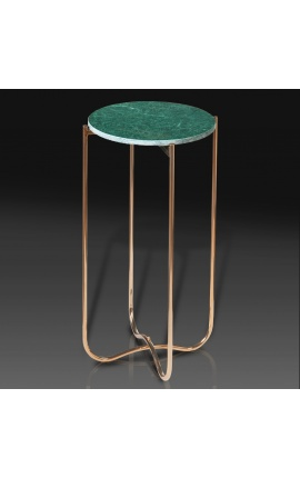 """Round """"Lucy"""" side table with agate and onyx top with gilded metal foot"""