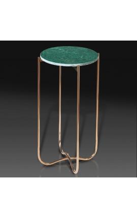 """Table d'appoint ronde """"Lucy"""" plateau en marbre vert avec pied en métal doré"""