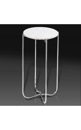 """Round """"Lucy"""" side table with white marble top with silver metal stand"""