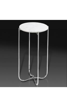 """Table d'appoint ronde """"Lucy"""" plateau en marbre blanc avec pied en métal argenté"""
