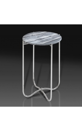 """Round """"Lucy"""" side table with gray marble top with silver metal stand"""
