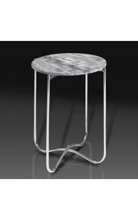 """Table d'appoint ronde """"Lucy"""" plateau en marbre gris avec pied en métal argenté"""