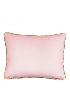 Rectangular cushion in powder pink velvet with golden twirled trim 35 x 45