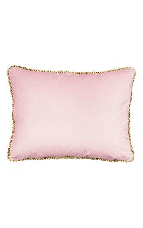 Rectangular cushion in powder pink velvet with golden twisted trim 35 x 45