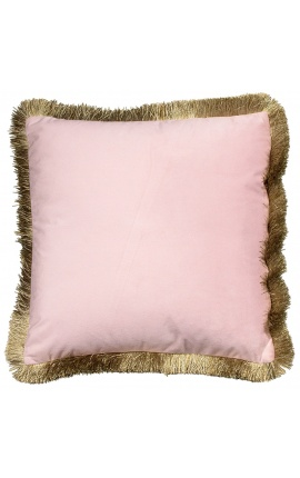 Square cushion in powder pink velvet with golden fringes 45 x 45