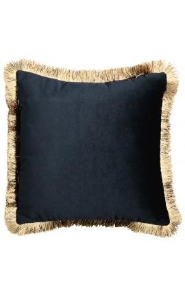 Square cushion in black velvet with golden fringes 45 x 45