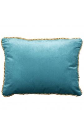 Rectangular cushion in baby blue velvet with golden twirled trim 35 x 45