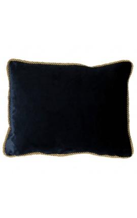 Rectangular cushion in black velvet with golden twirled trim 35 x 45