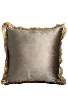 Square cushion in taupe velvet with golden fringes 45 x 45
