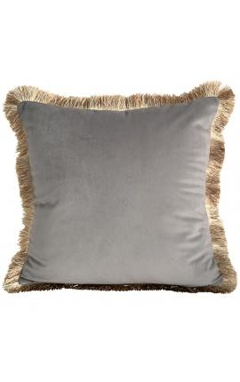 Square cushion in gray velvet with golden fringes 45 x 45