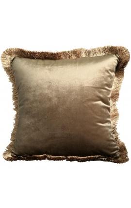 Square cushion in golden velvet with golden fringes 45 x 45