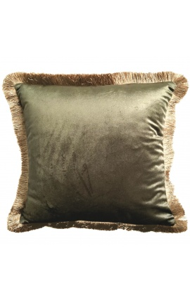 Square cushion in green velvet with golden fringes 45 x 45