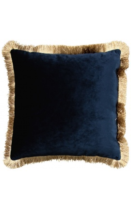 Square cushion in petrol blue velvet with golden fringes 45 x 45