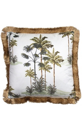 Square velvet cushion printed with palm trees on white background with gold fringes 45 x 45