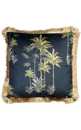 Square velvet cushion printed with palm trees on black background with gold fringes 45 x 45