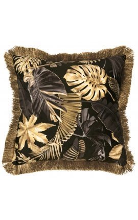 Square velvet cushion printed with Monstera on black background with gold fringes 45 x 45