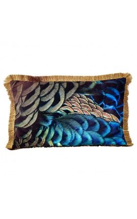 Rectangular velvet cushion printed peacock 1 with gold fringes 40 x 60