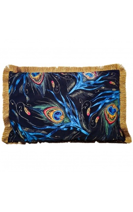 Rectangular velvet cushion printed peacock 2 with gold fringes 40 x 60