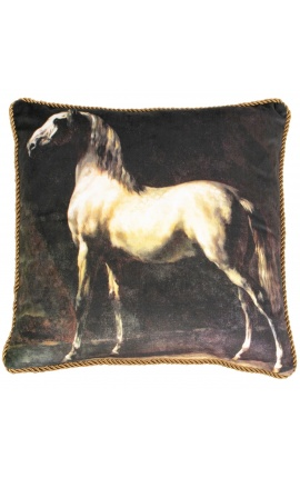 Square velvet cushion printed brown horse with gold twirled trim 45 x 45