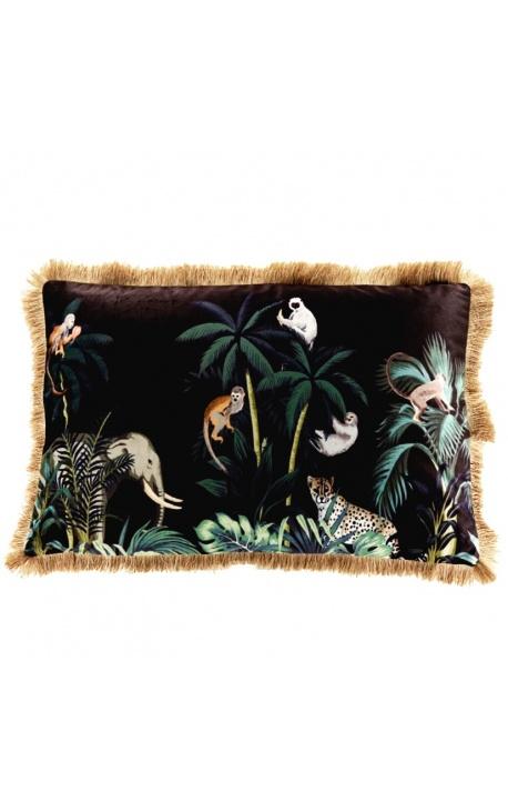Rectangular velvet cushion printed jungle elephant with golden fringes 40 x 60