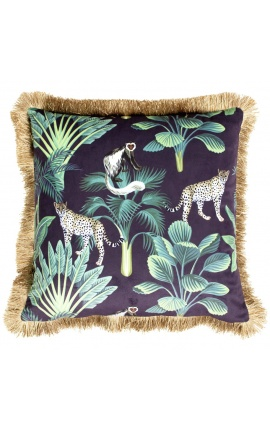 Square velvet cushion printed with jungle panthera with gold fringes 45 x 45