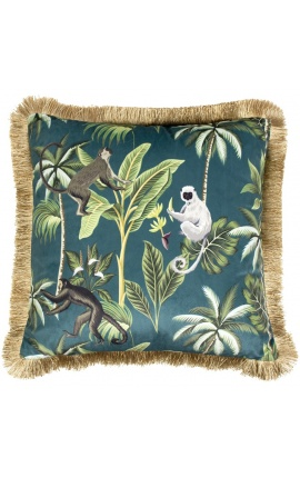 Square velvet cushion printed with jungle monkeys with gold fringes 45 x 45