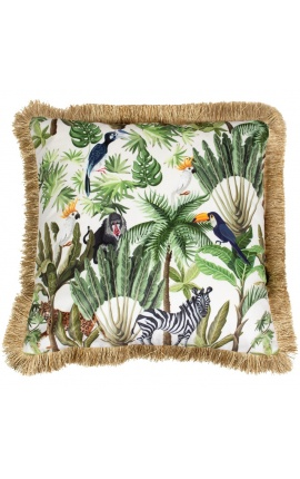 Square velvet cushion printed with jungle toucan with gold fringes 45 x 45