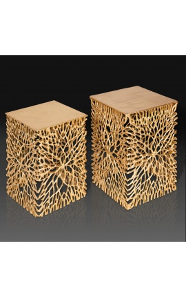 """Set of 2 """"Cory"""" side tables in steel and gold metal"""