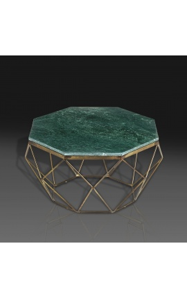 """Octagonal """"Diamo"""" coffee table with green marble top and brass-colored metal"""