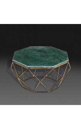 """Table basse """"Diamo"""" octogonale plateau marbre vert et métal couleur laiton"""
