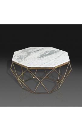 """Table basse """"Diamo"""" octogonale plateau marbre blanc et métal couleur laiton"""
