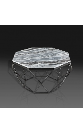 """Table basse """"Diamo"""" octogonale plateau marbre gris et métal couleur noir"""