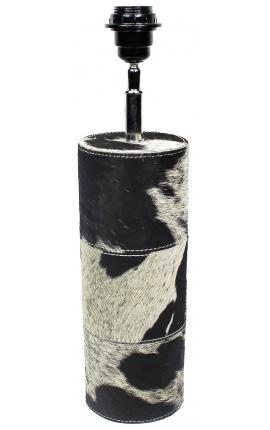Круглый цоколь из воловьей кожи черно-белого цвета