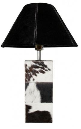 Black and white cowhide rectangular lamp base
