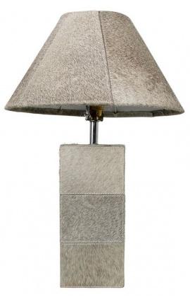Gray cowhide rectangular lamp base