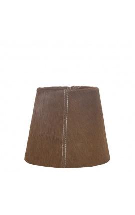 Brown cowhide lampshade 18 cm in diameter