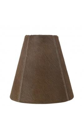 Brown cowhide lampshade 26 cm in diameter