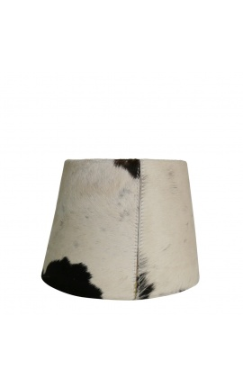 Black and white cowhide lampshade 20 cm in diameter