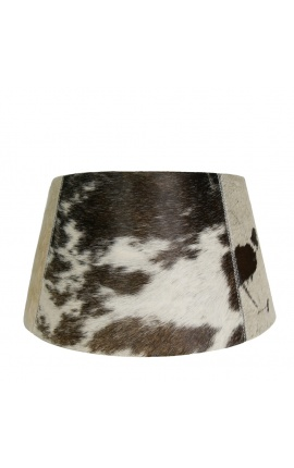 Black and white cowhide lampshade 40 cm in diameter
