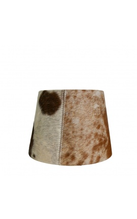 Brown and white cowhide lampshade 20 cm in diameter