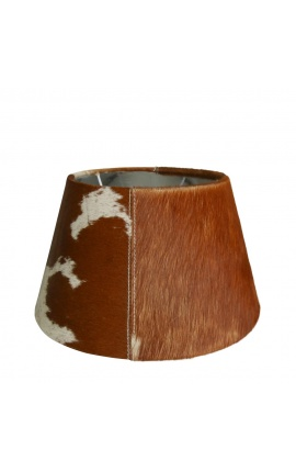 Brown and white cowhide lampshade 30 cm in diameter