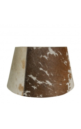 Brown and white cowhide lampshade 40 cm in diameter