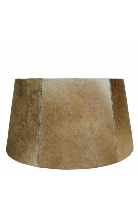 Brown and white cowhide lampshade 50 cm in diameter