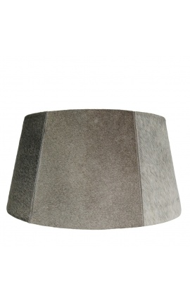 Gray cowhide lampshade 50 cm in diameter